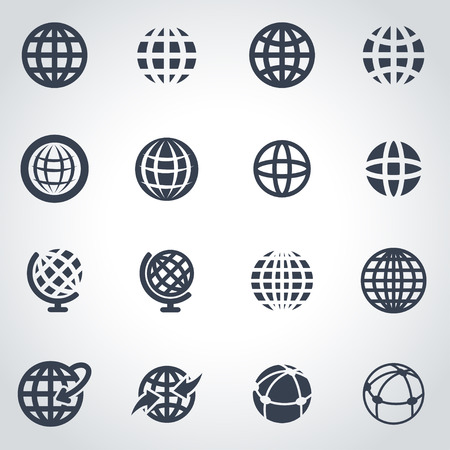 globe: Vector black globe icon set on grey background