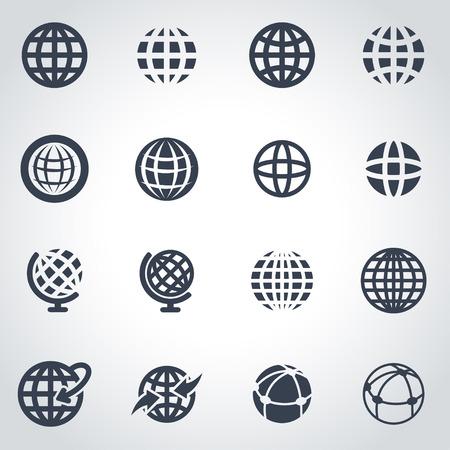 wereldbol: Vector zwart wereldbol icon set op een grijze achtergrond
