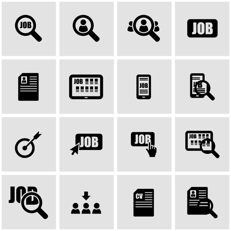 search icon: Vector black job search icon set on grey background Illustration