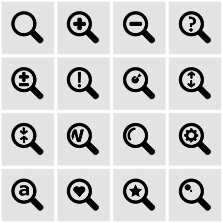 magnifying glass icon: Vector black magnifying glass icon set on grey background