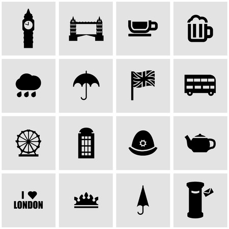 british culture: Vector black london icon set on grey background