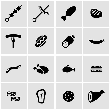 beef meat: Vector black meat icon set on grey background