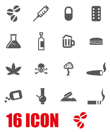 drogadiccion: Vector drogas grises conjunto de iconos en el fondo blanco