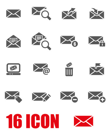email envelope: Vector grey email icon set on white background