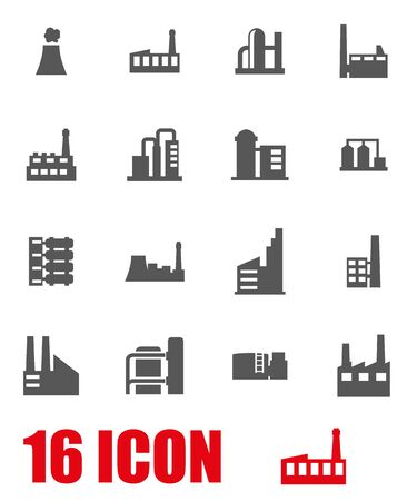 factory building: Vector grey factory icon set on white background Illustration