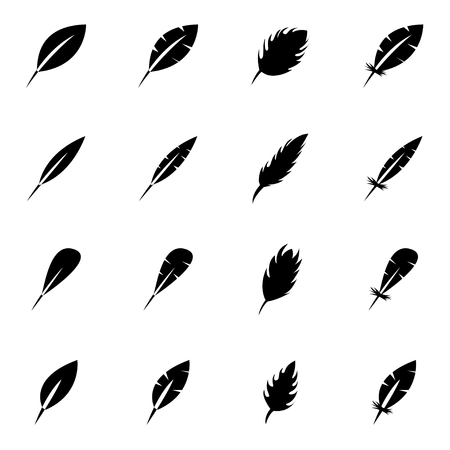 black feather: Vector black feather icon set on white background Illustration
