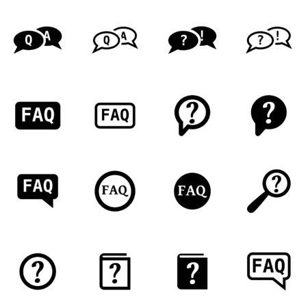 faq icon: Vector black faq icon set on white background