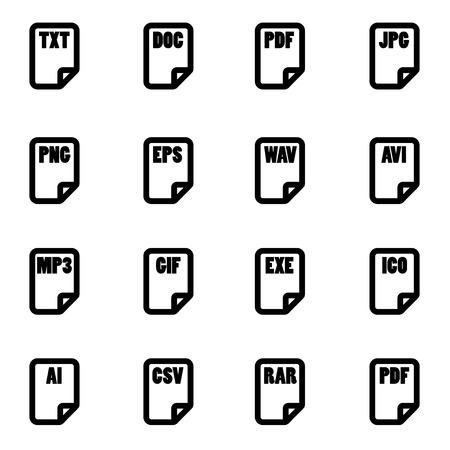 file type: Vector black file type icon set on white background Illustration