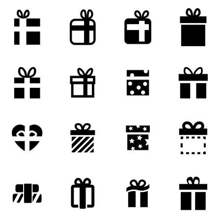 dar un regalo: Vector icono de regalo negro situado en el fondo blanco