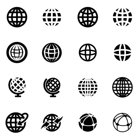 Vector black globe icon set on white background