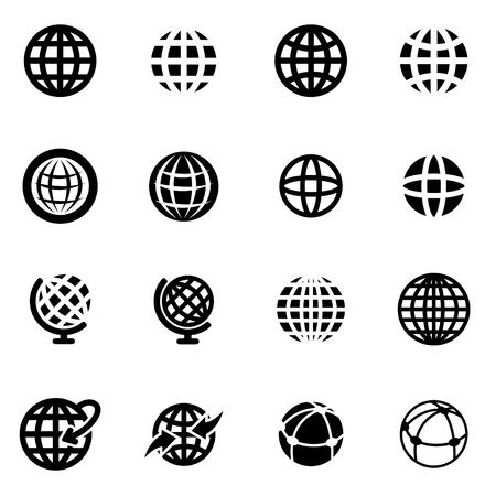 bola del mundo: Vector mundo negro conjunto de iconos en el fondo blanco