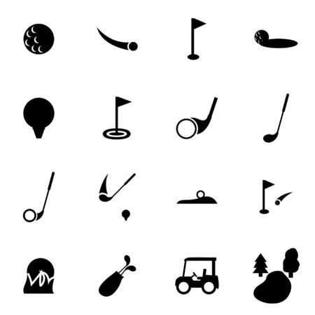 golf: Vector black golf icon set on white background