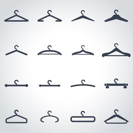 clothing rack: Vector black hanger icon set on grey background Illustration