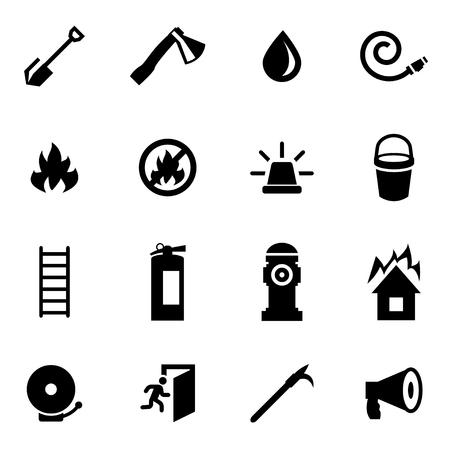 smoke alarm: Vector black firefighter icon set on white background Illustration
