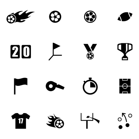 football jersey: Vector black football icon set on white background