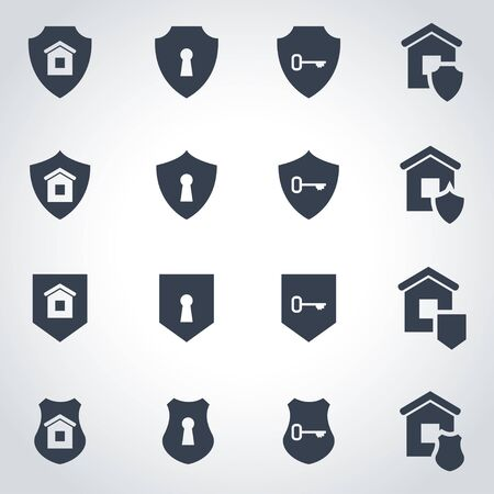 alarm system: Vector black home security icon set on grey background