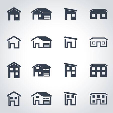 house icon: Vector black house icon set on grey background