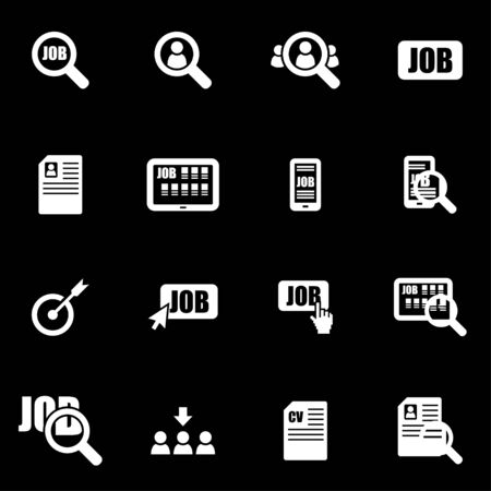 search solution: Vector white job search icon set on black background
