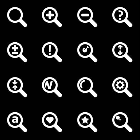 magnifying: Vector white magnifying glass icon set on black background