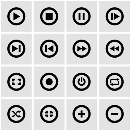 media buttons: Vector black media buttons icon set on grey background