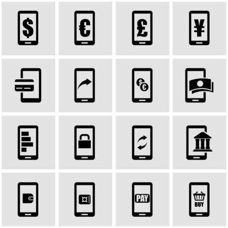 mobile banking: Vector black mobile banking icon set on grey background