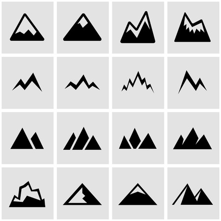 snow mountains: Vector black mountains icon set on grey background