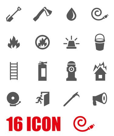 bombero: Vector gris icono bombero fij� en el fondo blanco Vectores