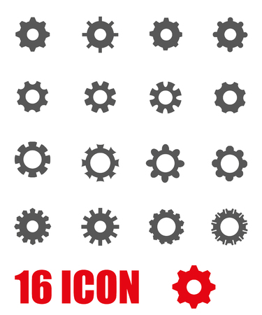 Vector grey gear icon set on white background