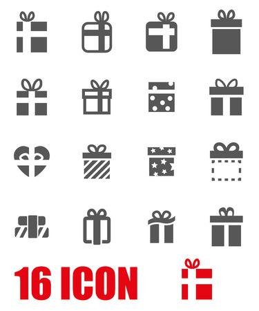 lazo regalo: Vector gris icono regalo conjunto en el fondo blanco