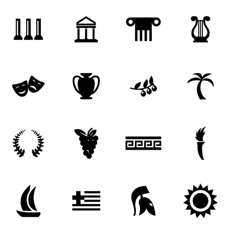 greece: Vector black greece icon set on white background Illustration