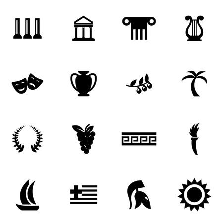 greece: Vector black greece icon set on white background Illustration