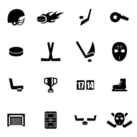 hockey stick: Vector black hockey icon set on white background Illustration