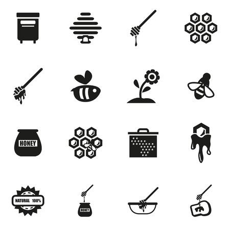 honey dipper: Vector black honey icon set on white background Illustration