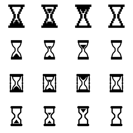 hourglass: Vector black hourglass icon set on white background Illustration