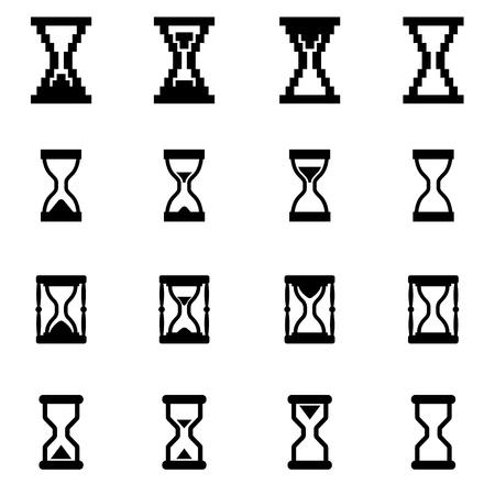 reloj de arena: Vector icono de reloj de arena negro situado en el fondo blanco