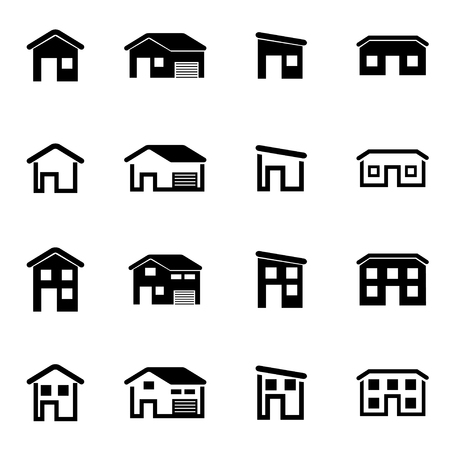 HOUSES: Vector black house icon set on white background Illustration