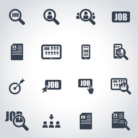 job icon: Vector black job search icon set on grey background Illustration