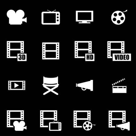Vector white movie icon set on black background