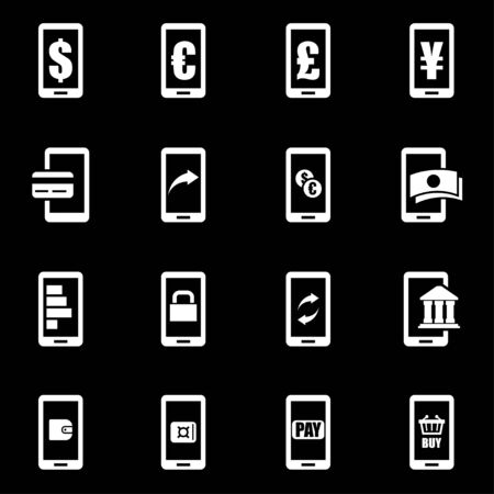 mobile banking: Vector white mobile banking icon set on black background