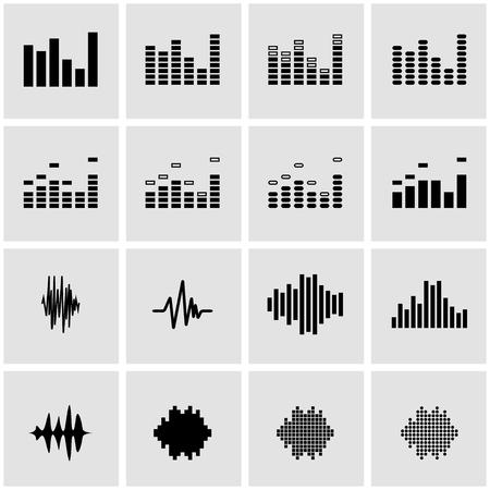 soundwave: Vector black music soundwave icon set on grey background Illustration