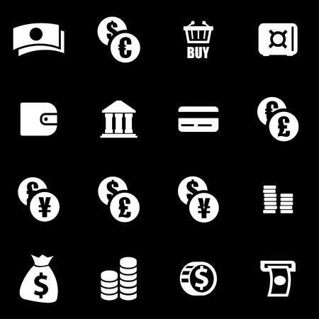 cash money: Conjunto blanco del icono de dinero fija sobre fondo negro Vectores