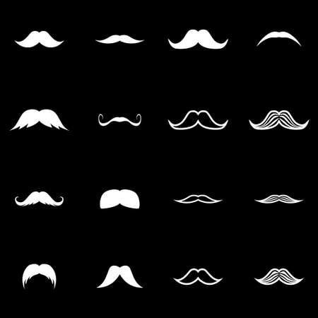 moustaches: Vector white moustaches icon set on black background