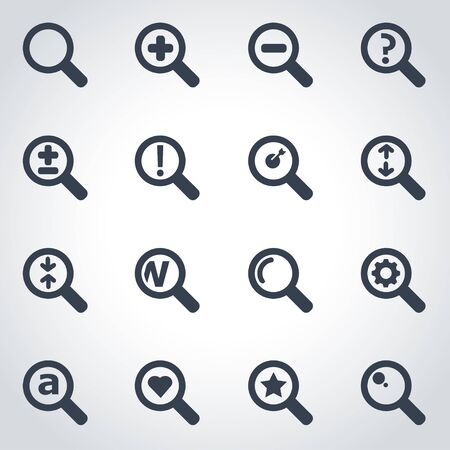 magnifying: Vector black magnifying glass icon set on grey background