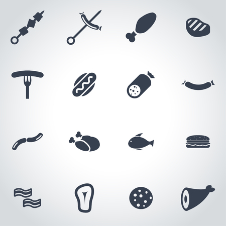 pork meat: Vector black meat icon set on grey background