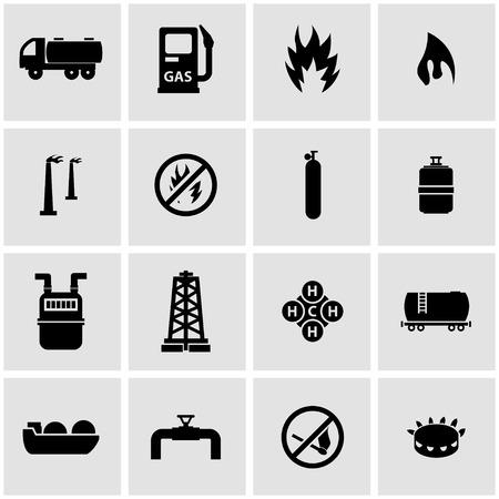 llamas de fuego: Vector icono negro de gas natural establecido en fondo gris