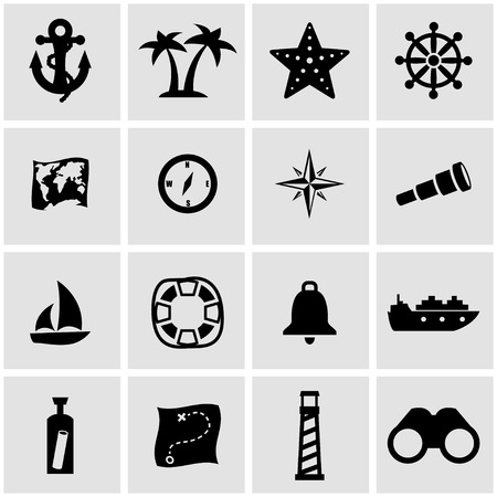 nautical: Vector black nautical icon set on grey background