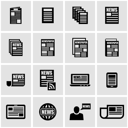 newspaper icon: Vector black newspaper icon set on grey background