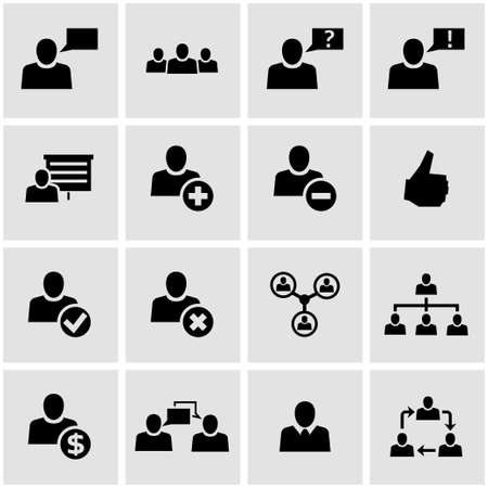 office people: Vector black office people icon set on grey background