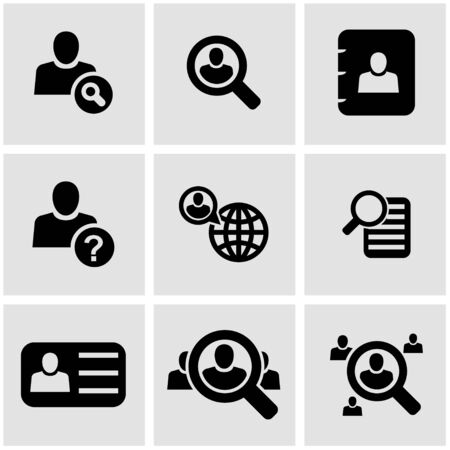 job icon: Vector black people search icon set  on grey background