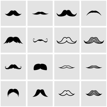 moustache: Vector black moustaches icon set on grey background Illustration